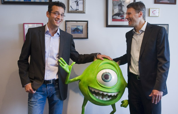 VANCOUVER, B.C.: JUNE 20, 2012 -- Mayor Gregor Robertson (R) and Amir Nasrabadi (L) of Pixar, June 20th, during a tour of Vancouver's digital media industry.Pixar is located in Vancouver's Gastown. (Ward Perrin / PNG) (For story by NEWS/The Province  NEWS/Vancouver Sun)       00062289A  00062297A [PNG Merlin Archive]
